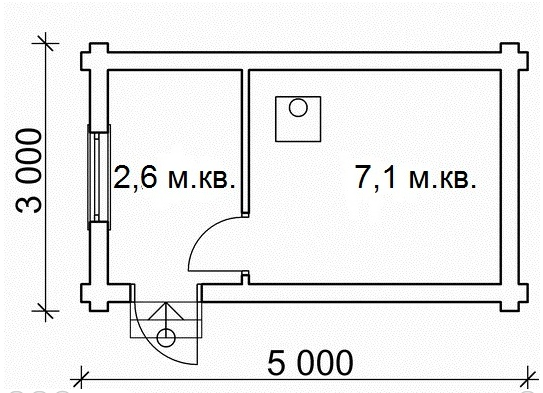 """Проект бани """"БН-3524"""", оцилиндрованное бревно, 15 кв.м."""